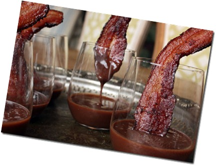 Pudding with bacon spoons